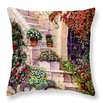 Throw Pillow featuring the painting House In Oyster Bay by Sher Nasser