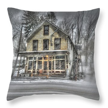 House In Snow Throw Pillow by Dan Friend
