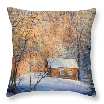 House In The Winter Forest  Throw Pillow
