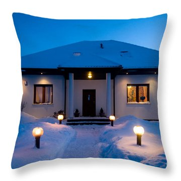 House In Winter Throw Pillow by Michal Bednarek