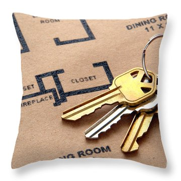 House Keys On Real Estate Housing Floor Plans Throw Pillow by Olivier Le Queinec