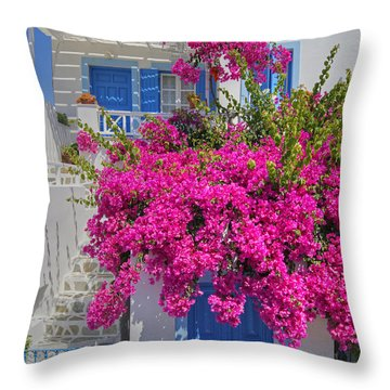 House Of Bougainvillea Throw Pillow