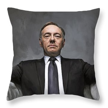 Throw Pillow featuring the painting House Of Cards Artwork by Sheraz A