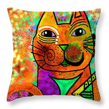 House Of Cats Series - Blinks Throw Pillow by Moon Stumpp