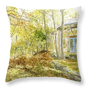 Throw Pillow featuring the painting House On Grandmother Mountain - Golden Moments  by Joel Deutsch