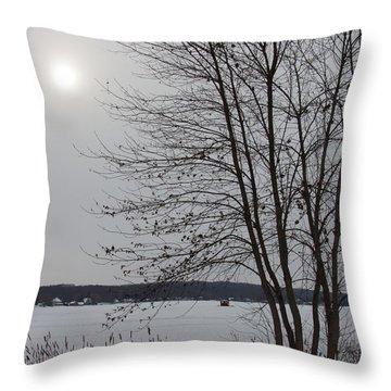 House On The Lake Throw Pillow by Kathleen Scanlan