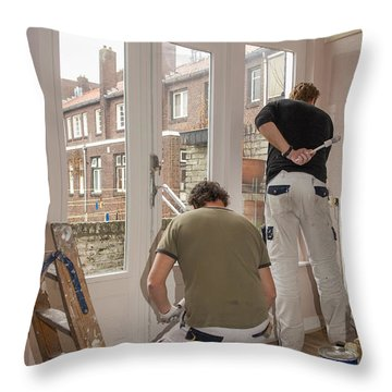 House Painters At Work Throw Pillow