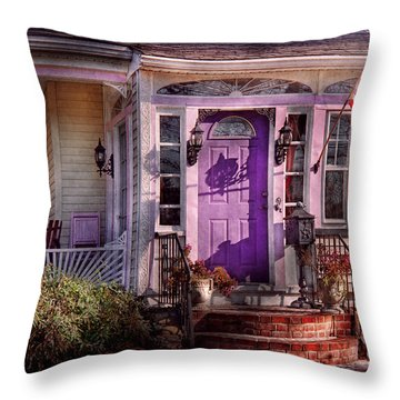 House - Porch - Cranford Nj - Lovely In Lavender  Throw Pillow by Mike Savad