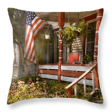 House - Porch - Traditional American Throw Pillow by Mike Savad