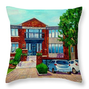 House Portrait-house  Art-commissioned  Montreal Paintings-carole Spandau Throw Pillow