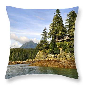 Throw Pillow featuring the photograph House Upon A Rock by Cathy Mahnke
