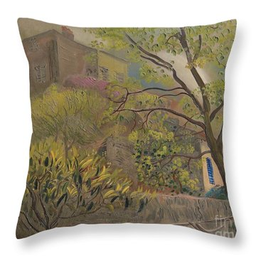 House With A Pink Roof Throw Pillow
