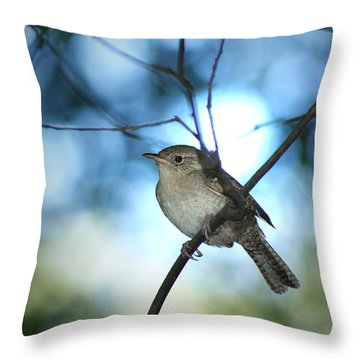 House Wren On Blue Throw Pillow