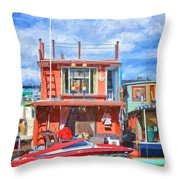 Houseboat #2 - Lake Union - Seattle Throw Pillow