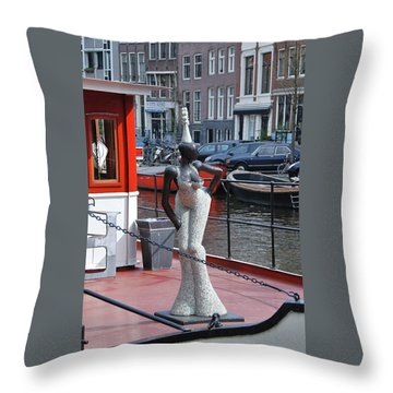 Throw Pillow featuring the photograph Houseboat Chanteuse by Allen Beatty
