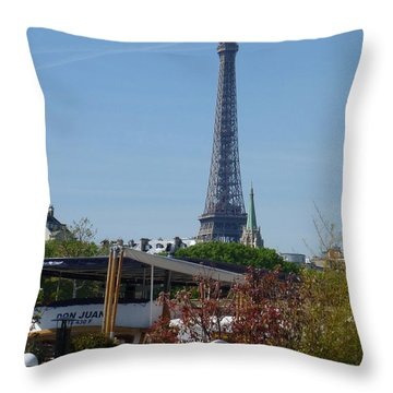 Houseboat On The Seine Throw Pillow by Susan Alvaro
