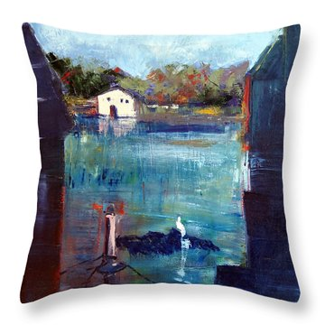 Houseboat Shadows Throw Pillow