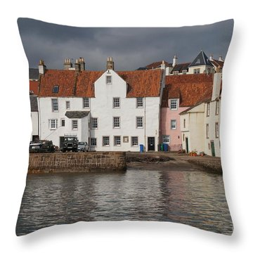 Houses At Pittenweem Harbor Throw Pillow
