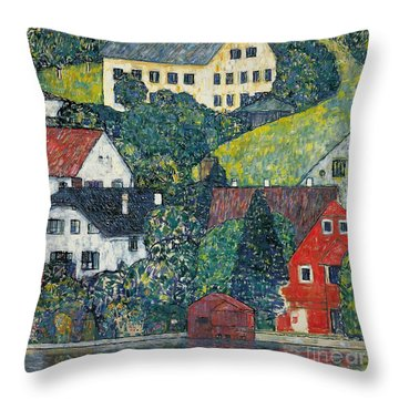 Houses At Unterach On The Attersee Throw Pillow by Gustav Klimt