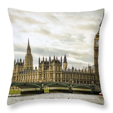 Houses Of Parliament On The Thames Throw Pillow