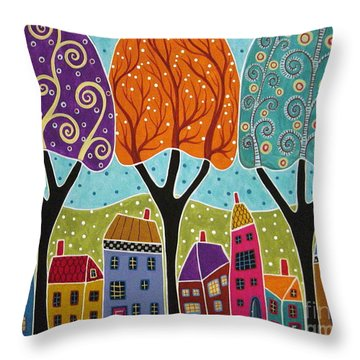Houses Trees Folk Art Abstract  Throw Pillow by Karla Gerard