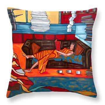 Housework Throw Pillow by Sandra Marie Adams