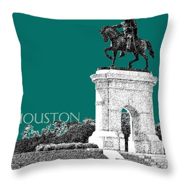 Houston Sam Houston Monument - Sea Green Throw Pillow by DB Artist