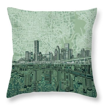 Houston Skyline Abstract 2 Throw Pillow by Bekim Art