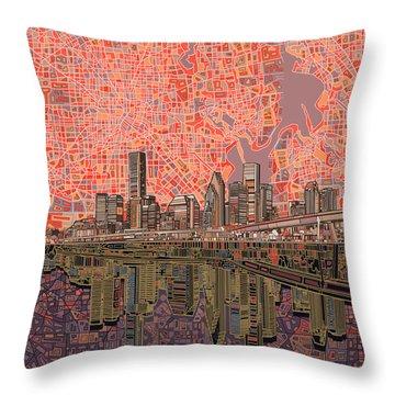 Houston Skyline Abstract 5 Throw Pillow