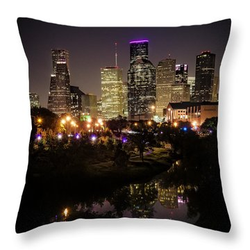 Houston Skyline From Buffalo Bayou Throw Pillow