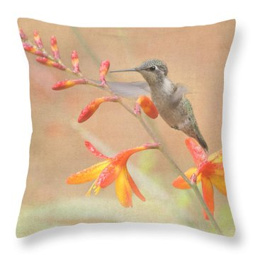 Hovering In The Crocosmia Throw Pillow by Angie Vogel