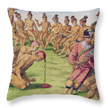 How A Sentry Was Treated For Negligence Throw Pillow by Jacques Le Moyne