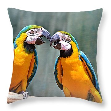 How About A Little Kiss Throw Pillow by Tara Potts