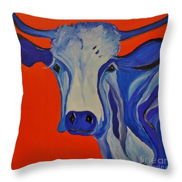 How Now Blue Cow Throw Pillow