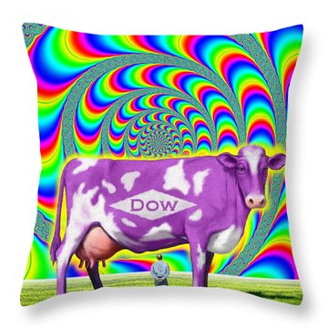 Throw Pillow featuring the digital art How Now Dow Cow? by Scott Ross