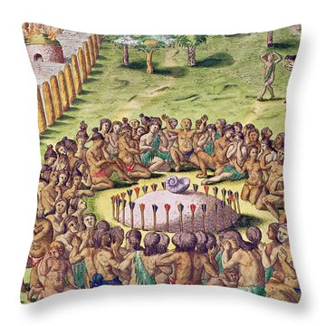 How The Chief Is Buried Throw Pillow by Jacques Le Moyne