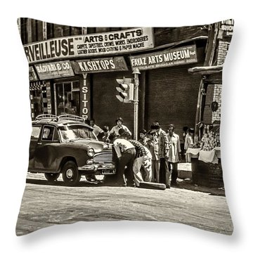 How To Change A Tire Sepia Throw Pillow by Steve Harrington