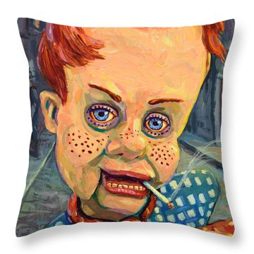 Howdy Von Doody Throw Pillow by James W Johnson
