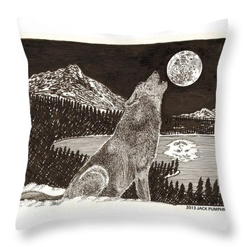 Howling Coyote Full Moon Ho0wling Throw Pillow by Jack Pumphrey