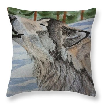 Howling Wolf In Winter Throw Pillow by Brenda Brown
