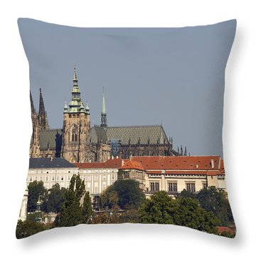 Hradcany - Cathedral Of St Vitus On The Prague Castle Throw Pillow by Michal Boubin