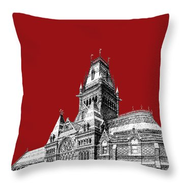 Harvard University - Memorial Hall - Dark Red Throw Pillow