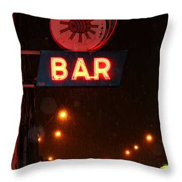 Hub Bar Snowy Night Throw Pillow