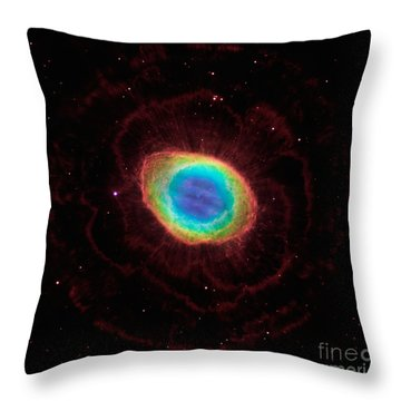 Throw Pillow featuring the  Hubble Reveals The Ring Nebulas True Shape by Paul Fearn