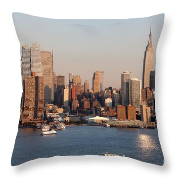Hudson River And Manhattan Skyline I Throw Pillow by Clarence Holmes