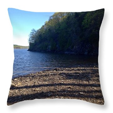 Hudson River Shoreline Throw Pillow