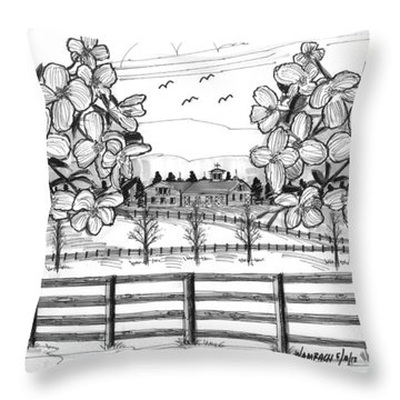 Hudson Valley Apple Blossoms Throw Pillow