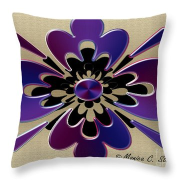 Hues Of Blue And Purple On Gold Floral Design Throw Pillow