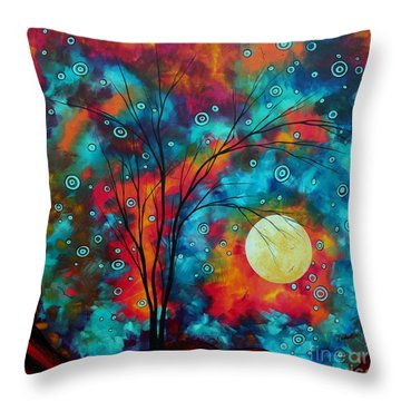 Huge Colorful Abstract Landscape Art Circles Tree Original Painting Delightful By Madart Throw Pillow by Megan Duncanson