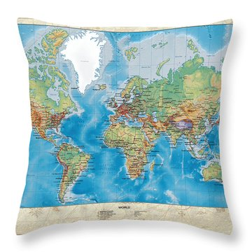 Huge Hi Res Mercator Projection Physical And Political Relief World Map Throw Pillow